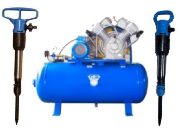 Piston Air Compressor with Pneumatic Pick Hammer for rent
