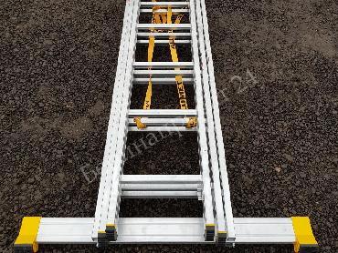Аренда длинной лестницы «Алюмет» 3х14 (лестница стремянка профессиональная)